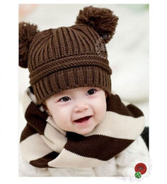 Wholesale Korean Sweater Fashion Boys - 2015 Korean New Fashion Baby Girls Boys Kids Children Dual Ball Knit Sweater Cap Hats Winter Warm Knitted free shipping TY1251