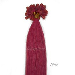 "Wholesale Hair Extensions U - Nail-hair extension Straight Style wholesale price Brazilian Indian Peruvian Malaysian U-tip Remy Human Hair Bundles 15""-22"" 100s Pink Color"