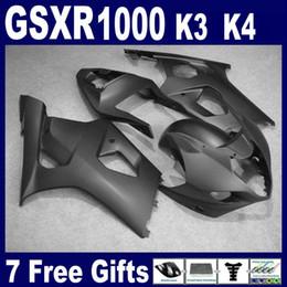 Wholesale Gsxr New Fairings - All matte black fairing kit FOR suzuki GSXR1000 2003 2004 K3 Brand new body kit GSXR 1000 03 04 free windscreen
