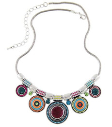 Wholesale Necklace Statement Newest - 2015 Choker Necklace Fashion Ethnic Collares Vintage Silver Plated Newest Colorful Bead Pendant Statement Bohemian Necklace free shipping