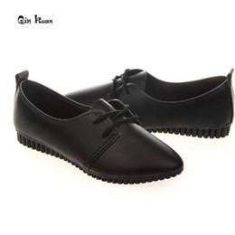 Wholesale Doug Shoes Women - Wholesale- Qin Kuan New Spring Women Shoes Casual Pointed Toe Plus Size 35-39 Ladies Flats Women PU Leather Flat Doug Shoes