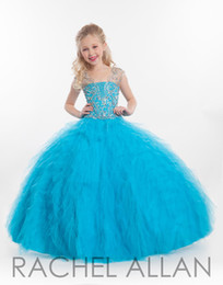 Wholesale Bling White Girl Dresses - New 2016 Little Girls Pageant Dresses Illusion Neck Tulle Crystal Beads Bling Tulle Tiered Kids Flower Girls Dress Ball Gown Birthday Gowns
