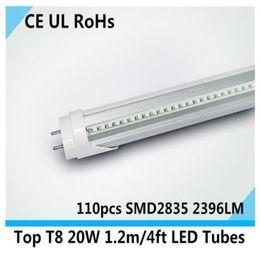 Wholesale T8 Led Housing - factory sale Top 1.2m LED TUBE T8 20W,110pcs SMD2835, AC85-265V 110V 220V white color high brightness home classroom house lighting tube