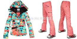 Wholesale Best Ski Jackets Women - Wholesale-free shipping new Combination women ski suit best quality geometric figure snowboarding jacket+pants women ski wear