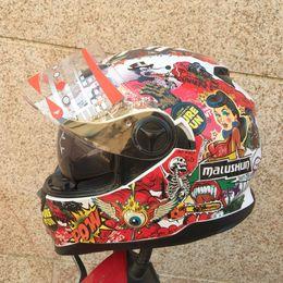 Wholesale Dual Visor Helmets - Wholesale-Free shipping MALUSHUN motorcycle helmet helmet DVS Dual Visor System Motorcycle Helmet DOT white