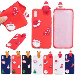 Wholesale Iphone Santa Case 3d - 3D Santa Claus Christmas Phone Case PaPa Back Cover for iPhone X 8 7 6 Samsung S8 Huawei P10 Silicone Protective