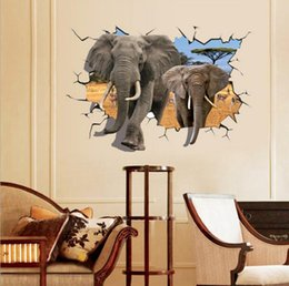 Wholesale Elephant 3d Stickers - 70*100CM African antelope to heavy elephant 3D effect can be moved plane wall stickers free shipping HK16