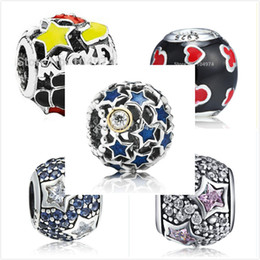 Wholesale Millefiori Crystal Beads - Wholesale Variety Of Round Crystal Star Charm 925 Sterling Silver European Charms Bead Fit Snake Chain Bracelets Fashion DIY Jewelry