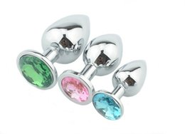 Wholesale Butt Plugs Jewels - Metal Anal plug 3 Sizes 7cm 8cm 9cm Anal Toys, Butt Plug,Booty Beads,Random Colors Metal+Crystal Jewel