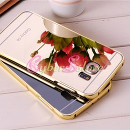 Wholesale Hard Metal Alloy Cover - For Galaxy S6 S6 S7 Edge Colorful Clear Mirror Electroplate Metal Alloy Bumper Hybrid Hard Phone Back Case Cover for Samsung G9200 G9250