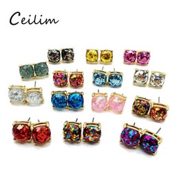 Wholesale Elegant Jewelry For Men - Colorful Party Cute Elegant New Design Square Glitter Sweet Earring Stud High Quality Resins Earring jewelry For Men Women Holiday Daily