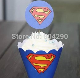 Wholesale Cheap Cupcakes Wrappers - Cheap superman paper cupcake wrappers & toppers baby shower birthday favors Wedding decoration Free shipping