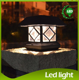 Wholesale Wholesale Garden Post Lights - LED Solar Light Solar Post Llights Outdoor Solar Head Lamp Wooden Solar Garden Light Fence Light Waterproof LED Wall Lamp Solar Street Lamps