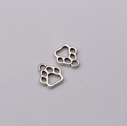 Wholesale Wholesale Silver Paw Print Charms - Hot ! 150pcs Antique Silver Zinc Alloy Hollow Paw Print Charm Pendant DIY Jewelry 11x13mm