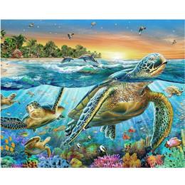 Wholesale Turtle Diy - Sea Turtle DIY Mosaic Needlework Diamond Painting Embroidery Cross Stitch Craft Kit Wall Home Hanging Decor
