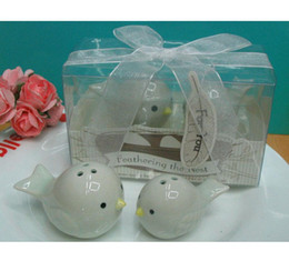 Wholesale Whoesale Wedding - Baby Shower Favors Feathering the nest Ceramic bird salt and pepper shakers wedding gifts 400pcs(200sets) lot Whoesale