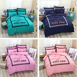 Wholesale Lace Quilt Cover - Solid PINK letter Bedding Set Lace Edge VS Pink Four-piece suit Bed Sets set of four: duvet quilt cover pillowcases flat bed sheet DHL FREE