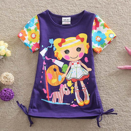 Wholesale Embroidered Shirts Girls - Children cartoon Lalaloopsy T-shirt 2015 new embroidered short-sleeved girl T-shirt 3 colour B001
