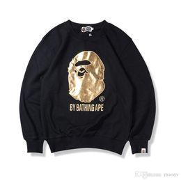 Wholesale Round Neck Sweaters - Lover Men's Bronzing Ape Head Embroidery Sweater Autumn Winter Round Neck Sweater Hoodie Fashion Hip Hop Neck Sweatshirt