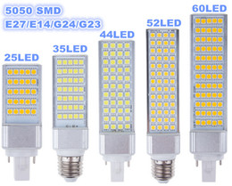 Wholesale E14 Led Bulb 14w - E27 E14 G24 G23 SMD 5050 LED corn bulb Horizontal Plug lights led lamp 180 degeree 5W 7W 9W 10W 12W 14W 15W 64 LEDs led lighting AC 85-265V