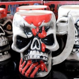 Wholesale Head Porcelain - Creative Ceramics Cup Personality Pirate Skull Head Design Mug With Thickened Handle Tumbler Gift New Arrival 8 5hf B R