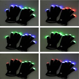 Wholesale Rainbow Dance - LED Flashing Light Up Gloves Rainbow Glow Run Black UV Rave Party Dance Disco Fashion Cool LED Rave Flashing Gloves Glow