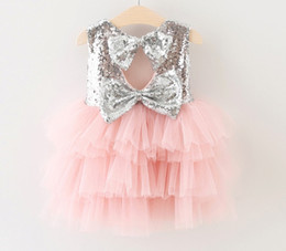 Wholesale Baby Cake Dresses - 2016 Hug Me Baby Girls Lace Tutu Dresses Summer Children Sleeveless for Kids Party Lace Cake Vest Sequins Dress