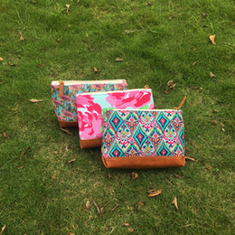 Wholesale Clutch Bag Blank - Wholesale Blank Flamingo Crown Jewel Rose Fashion Cosmetic Bag Travel Make Up Case Women Polyester Lilly Clutch Dom103519
