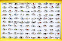 Wholesale Cz Fashion Jewellery - Jewlery Rings Fashion Jewelry 50pcs lot Heart CZ Rhinestone Silver tone Colorful Ring Fashion Rings Jewellery