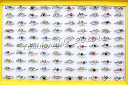 Wholesale Jewlery Silver Rings - Jewlery Rings Fashion Jewelry 50pcs lot Heart CZ Rhinestone Silver tone Colorful Ring Fashion Rings Jewellery