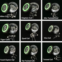 Wholesale Resistance Heating Wire Nichrome - Mix Twisted Coil Fused Clapton Coil NICHROME Alien Wire Coil Quad Tiger 9 Different Heating Resistance Wire 10pcs Box RDA RDTA RBA Mod