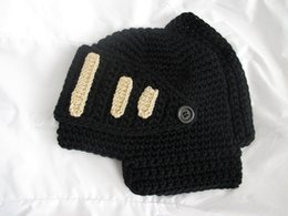 Wholesale Roman Winter Hat - Wholesale-10 pcs lot new 2015 Novelty Roman Knight Helmet Caps Cool Handmade Knitted Mask Hats Funny Winter Warm Beanies Drop Shipping