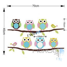 Wholesale Vinyl Wall Art Paintings - New 6 Cute Owl Animal wall stickers beautiful decal Cartoon Children's Room Painted Decorative Sticker Removable 100sets