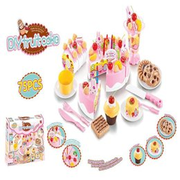 Wholesale Pretend Birthday Cake - Wholesale- Diy Fruitcake 75pcs set Cookware Set Fruit Birthday Cake Children Pretend Play Toys Kitchen Educational Toy For Kids