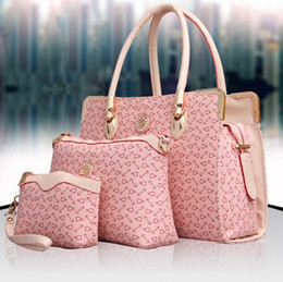 Wholesale cheap handbags for ladies - Designer Women 3PCS Set Fashion Bags Ladies Handbag Sets Leather Shoulder Office Tote Bag Cheap Womens Shell Handbags Pink 4 Color For Sale