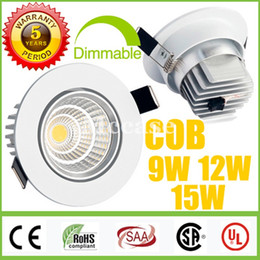 Wholesale Ceiling Fixtures - 2015 Newest-CREE-9W 12W 15W COB LED Downlights Dimmable-Non 110V 240V Power Driver Tiltable Fixture Recessed Ceiling Down Lights Lamps CSA