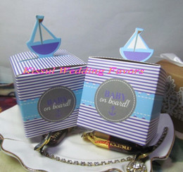 Wholesale Wholesale Shower Boards - Cheapest Baby shower favors of Baby on Board Sailboat Favor Boxes For baby birthday Gift box and baby souvenirs and Baby candy box 250pcs