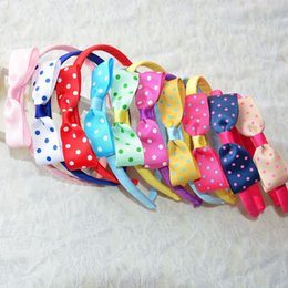 Wholesale Korean Baby Belt - Cute Polka Dot Korean children bow hair hoop rib belt headdress Korean baby hair accessories jewelry wholesale A19