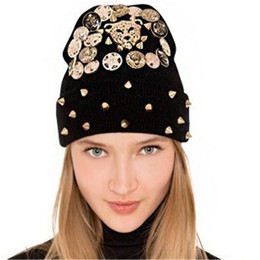 men spiked hat Coupons - Wholesale-Cheap Online Spikes Beanie Hat Wool Winter Warm Knitted Caps Hats For Man Women Punk Skullies Cool Beanies Unisex Hats KH852054