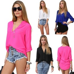 Wholesale Women S Classic Clothing - 2015 Women Clothing Fashion Solid Top Brand Casual Fall Office Elegant Classic V Neck Long Sleeve Loose Blouse FY634
