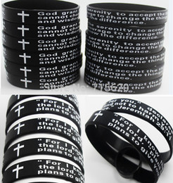 Wholesale Silicone Bracelet Id - Wholesale-200pcs English Lord's Prayer & Serenity Prayer Silicone Bracelets Wholesale Men's Fashion Jewelry Lots