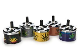 Wholesale Stainless Ashtrays - 1PC Stainless Steel Portable Super Ashtrays for Smoking Population Leaves Pattern Metal Material Hot Sale YHG-01