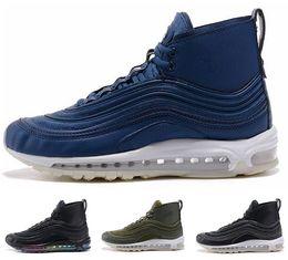 Wholesale White Boot Soles - 2018 top quality air 97 winter high cut me's running shoes New arrival air cushion white black blue high top air sole warm sport boots