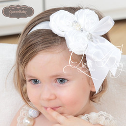 Wholesale Triple Bow - Baby Headband Matching Triple Satin Rosette Flowers with Ribbon Bow Headband Satin Flower Headband DIY Headband
