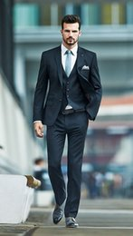 Wholesale Cheap Checked Pants - 2015 New Arrival Solid Black Men's Suits With (Jacket + Vest + Pants) Cheap Groom Tuxedo Handsome Blazer Men For Formal Occasions