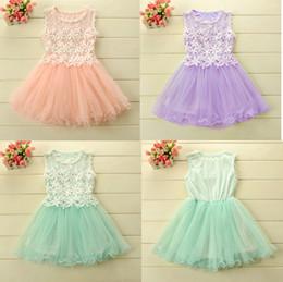 Wholesale Crochet Dress Girl New - Summer New Arrivals cute girls lace dress crochet net sleeveless gauze Dress 2015 girl vest Dress 5pcs lot C001