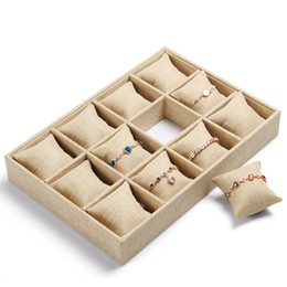 Wholesale Watch Display Trays - High-end Linen Jewelry Box Bracelet Watch Tray Jewelry Display Stand Holder Boutique Jewelry Storage 12 Grid Small Pillow Tray