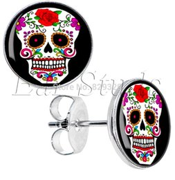 Wholesale Stud Diameter - 50pcs lot Surgical Steel White Sugar Skull Ear Stud Earrings Cheater Plugs Diameter 10mm*16g ZCST-025