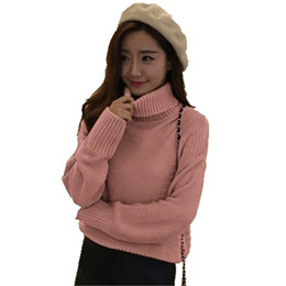 lose strick kurzarm pullover Rabatt Großhandel-Herbst Und Winter Neue  Stehkragen Bodenbildung Pullover Frauen Pullover 973853e96a