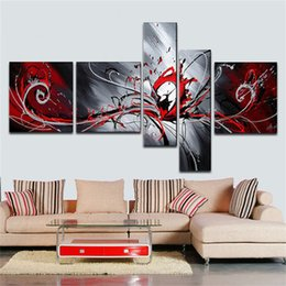 Wholesale wall art oil painting set - Abstract art Paintings Modern Oil Painting Home Decoration beautiful red passion High Q. Abstract Wall Decor Oil Painting on canvas 5pcs set